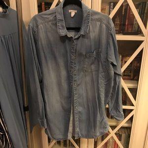 Caslon Long Blue Jean Shirt